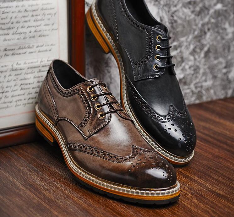 9a8b2bb5f1d Fashion Italian designer formal mens dress shoes genuine leather black  luxury wedding shoes men flats office ...