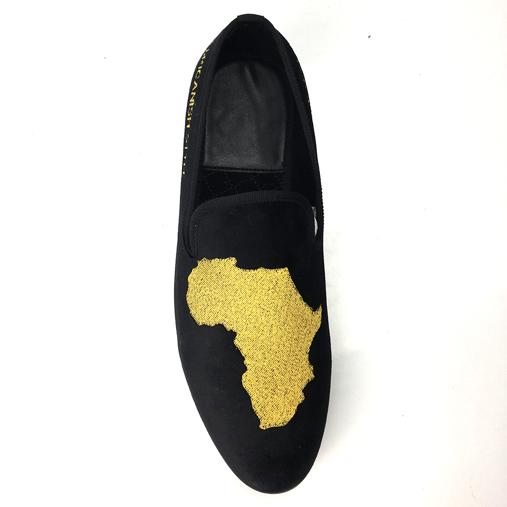 Map Embroidment velvet loafers