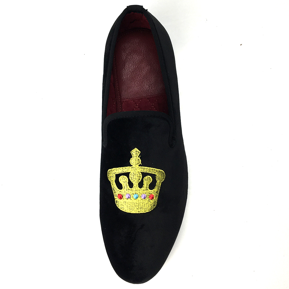 Crown Embroidment Velvet Loafers , Slipper