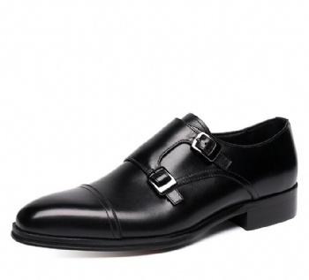 Black genuine soft comfortable calf leather custom made Italian style men business dress shoe, leather shoe for men