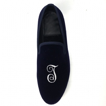 Luxury Mens Velvet Loafers Velvet Upper - Genuine Leather Type Round Toe Shape